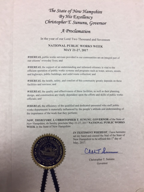State of New Hampshire Proclamation in recognition of National Public Works Week 2017